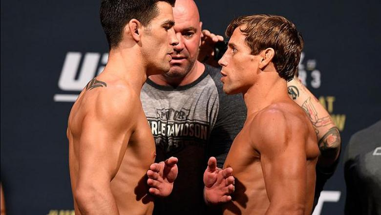 INGLEWOOD, CA - JUNE 03:   (L-R) Opponents Dominick Cruz and Urijah Faber face off during the UFC 199 weigh-in at the Forum on June 3, 2016 in Inglewood, California. (Photo by Josh Hedges/Zuffa LLC/Zuffa LLC via Getty Images)