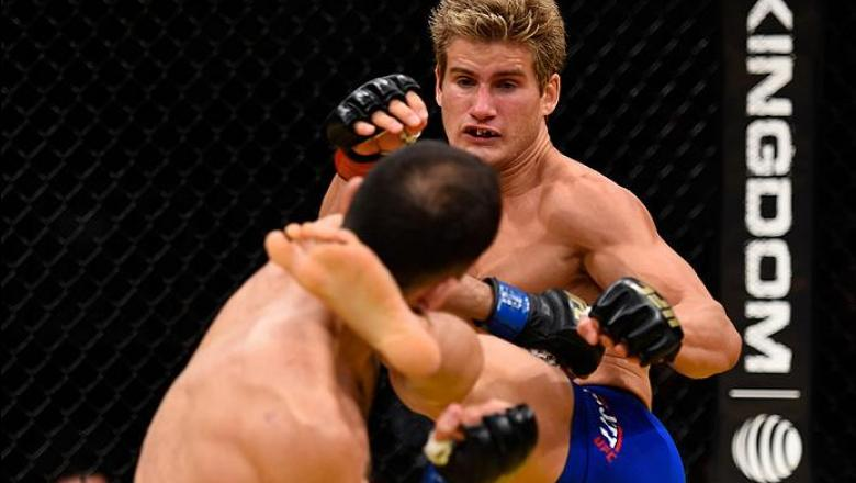LAS VEGAS, NV - JULY 09: (R-L) Sage Northcutt kicks Enrique Marin of Spain in their lightweight bout during the UFC 200 event on July 9, 2016 at T-Mobile Arena in Las Vegas, Nevada.  (Photo by Josh Hedges/Zuffa LLC/Zuffa LLC via Getty Images) *** Local Ca