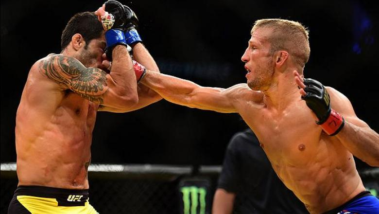 LAS VEGAS, NV - JULY 09: (R-L) TJ Dillashaw punches Raphael Assuncao of Brazil in their bantamweight bout during the UFC 200 event on July 9, 2016 at T-Mobile Arena in Las Vegas, Nevada.  (Photo by Harry How/Zuffa LLC/Zuffa LLC via Getty Images) *** Local