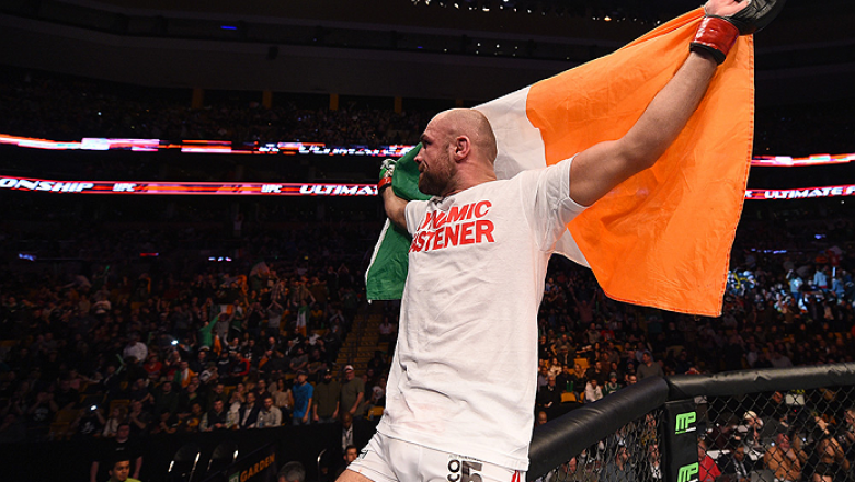 BOSTON, MA - JANUARY 18: Cathal Pendred reacts after defeating Sean Spencer in their welterweight fight during the UFC Fight Night event at the TD Garden on January 18, 2015 in Boston, Massachusetts. (Photo by Jeff Bottari/Zuffa LLC/Zuffa LLC via Getty Im