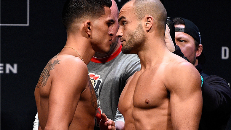 BOSTON, MA - JANUARY 16:  (L-R) Opponents Anthony Pettis and Eddie Alvarez face off during the UFC weigh-in at the Wang Theatre on January 16, 2016 in Boston, Massachusetts. (Photo by Jeff Bottari/Zuffa LLC/Zuffa LLC via Getty Images)