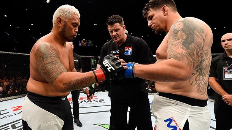 BRISBANE, AUSTRALIA - MARCH 20:  (L-R) Mark Hunt of New Zealand and Frank Mir of the United States touch gloves before their heavyweight bout during the UFC Fight Night event at the Brisbane Entertainment Centre on March 20, 2016 in Brisbane, Australia. (