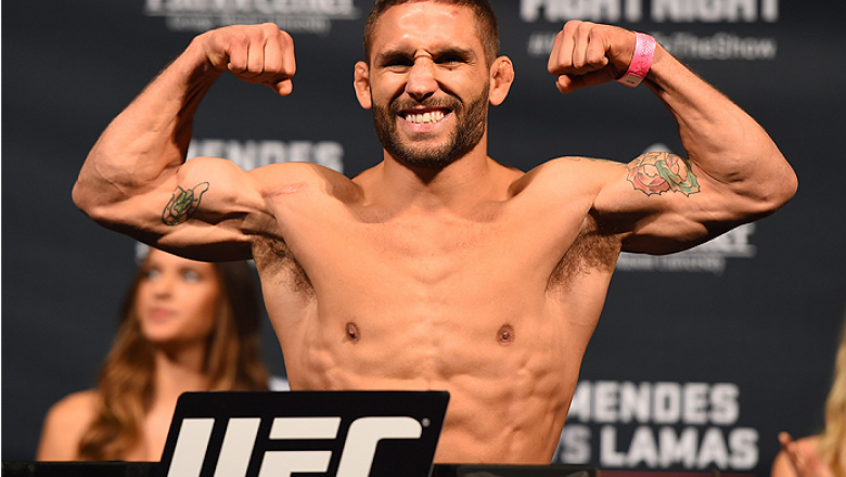 FAIRFAX, VA - APRIL 03:   Chad Mendes weighs in during the UFC weigh-in at the Patriot Center on April 3, 2015 in Fairfax, Virginia. (Photo by Josh Hedges/Zuffa LLC/Zuffa LLC via Getty Images)