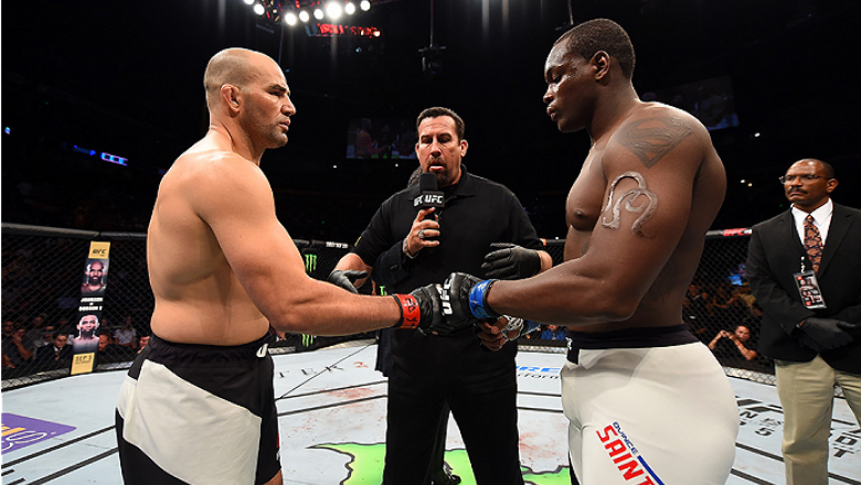 NASHVILLE, TN - AUGUST 08:  (L-R) Glover Teixeira of Brazil and Ovince Saint Preux touch gloves before facing each other in their light heavyweight bout during the UFC Fight Night event at Bridgestone Arena on August 8, 2015 in Nashville, Tennessee.  (Pho
