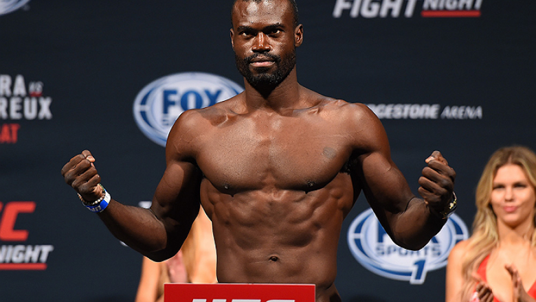 NASHVILLE, TN - AUGUST 07:  Uriah Hall of Jamaica steps on the scale during the UFC weigh-in at Bridgestone Arena on August 7, 2015 in Nashville, Tennessee.  (Photo by Josh Hedges/Zuffa LLC/Zuffa LLC via Getty Images)