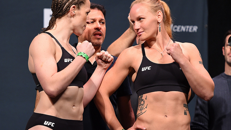 ORLANDO, FL - DECEMBER 18:   (L-R) Opponents Sarah Kaufman of Canada and Valentina Shevchenko of Russia face off during the UFC weigh-in at the Orange County Convention Center on December 18, 2015 in Orlando, Florida. (Photo by Josh Hedges/Zuffa LLC/Zuffa