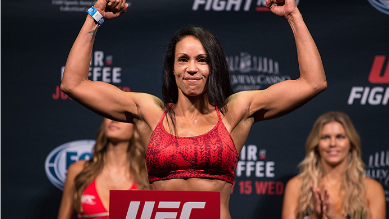 SAN DIEGO, CA - JULY 14:  Marion Reneau steps on the scale during the UFC weigh-in at the Valley View Casino Center on July 14, 2015 in San Diego, California. (Photo by Jeff Bottari/Zuffa LLC/Zuffa LLC via Getty Images)