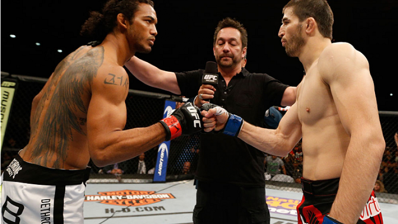 ALBUQUERQUE, NM - JUNE 07:  (L-R) Opponents Benson Henderson and Rustam Khabilov face off before their lightweight fight during the UFC Fight Night event at Tingley Coliseum on June 7, 2014 in Albuquerque, New Mexico.  (Photo by Josh Hedges/Zuffa LLC/Zuff