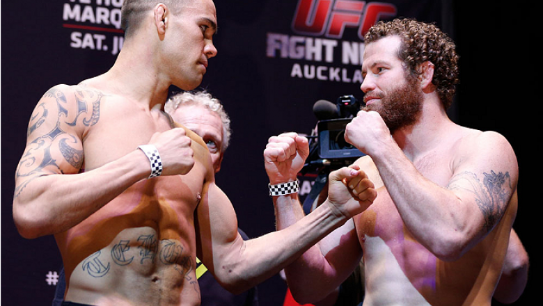 AUCKLAND, NEW ZEALAND - JUNE 27:  (L-R) Opponents James Te Huna and Nate Marquardt face off during the UFC weigh-in at Vector Arena on June 27, 2014 in Auckland, New Zealand.  (Photo by Josh Hedges/Zuffa LLC/Zuffa LLC via Getty Images)