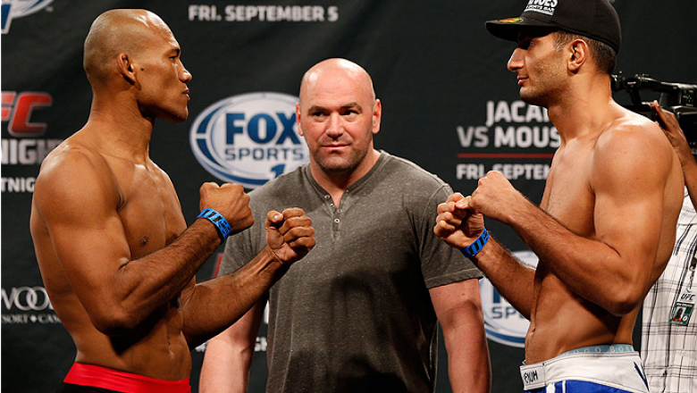 "MASHANTUCKET, CT - SEPTEMBER 04:  (L-R) Opponents Ronaldo ""Jacare"" Souza of Brazil and Gegard Mousasi of The Netherlands face off during the UFC Fight Night weigh-in at Foxwoods Resort Casino on September 4, 2014 in Mashantucket, Connecticut.  (Photo by J"
