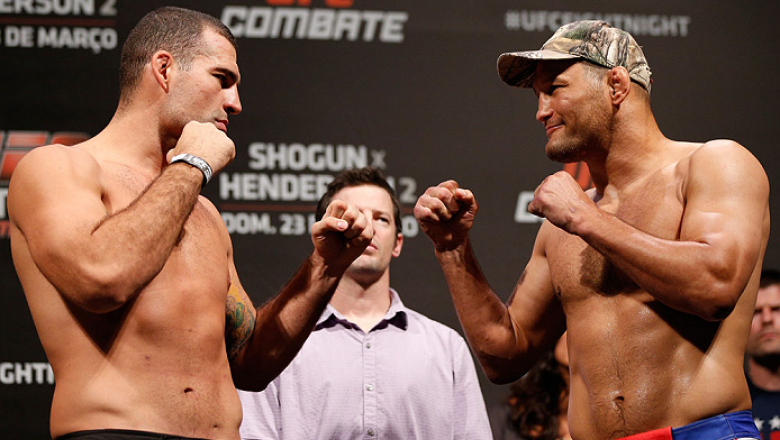 """NATAL, BRAZIL - MARCH 22:  (L-R) Opponents Mauricio """"Shogun"""" Rua and Dan Henderson face off during the UFC weigh-in at Ginasio Nelio Dias on March 22, 2014 in Natal, Brazil. (Photo by Josh Hedges/Zuffa LLC/Zuffa LLC via Getty Images)"""
