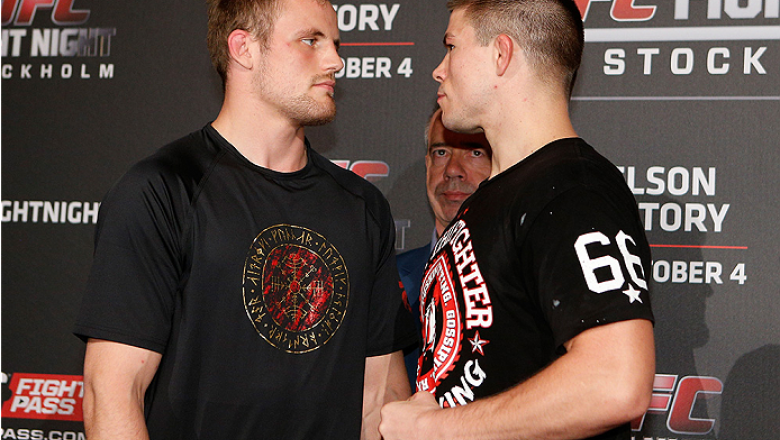 STOCKHOLM, SWEDEN - OCTOBER 01:  (L-R) Opponents Gunnar Nelson of Iceland and Rick Story face off at the Grand Hotel on October 1, 2014 in Stockholm, Sweden. (Photo by Josh Hedges/Zuffa LLC/Zuffa LLC via Getty Images)