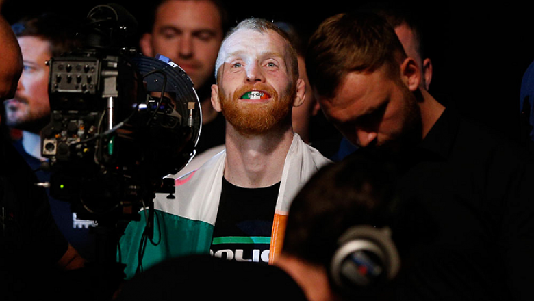 DUBLIN, IRELAND - JULY 19:  Patrick Holohan enters the arena before his flyweight bout against Josh Sampo during the UFC Fight Night event at The O2 Dublin on July 19, 2014 in Dublin, Ireland.  (Photo by Josh Hedges/Zuffa LLC/Zuffa LLC via Getty Images)