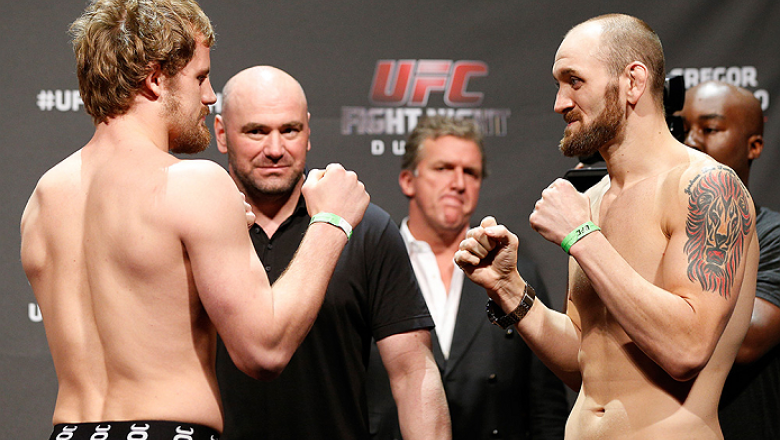 DUBLIN, IRELAND - JULY 18:  (L-R) Opponents Gunnar Nelson and Zak Cummings face off during the UFC weigh-in event at The O2 on July 18, 2014 in Dublin, Ireland.  (Photo by Josh Hedges/Zuffa LLC/Zuffa LLC via Getty Images)