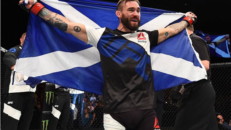 GLASGOW, SCOTLAND - JULY 18:  Robert Whiteford of Scotland reacts after his TKO victory over Paul Redmond of Ireland in their featherweight fight during the UFC Fight Night event inside the SSE Hydro on July 18, 2015 in Glasgow, Scotland.  (Photo by Josh