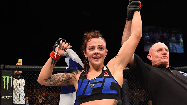 GLASGOW, SCOTLAND - JULY 18:   Joanne Calderwood of Scotland reacts after defeating Cortney Casey of the United States  in their women's strawweight fight during the UFC Fight Night event inside the SSE Hydro on July 18, 2015 in Glasgow, Scotland.  (Photo
