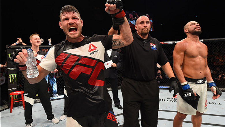 GLASGOW, SCOTLAND - JULY 18:  Michael Bisping of England reacts after his split-decision victory over Thales Leites of Brazil in their middleweight fight during the UFC Fight Night event inside the SSE Hydro on July 18, 2015 in Glasgow, Scotland.  (Photo