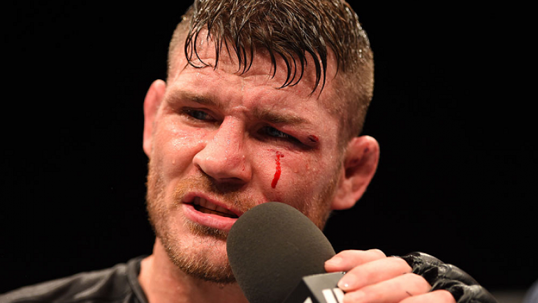 GLASGOW, SCOTLAND - JULY 18:  Michael Bisping of England is interviewed after his split-decision victory over Thales Leites of Brazil in their middleweight fight during the UFC Fight Night event inside the SSE Hydro on July 18, 2015 in Glasgow, Scotland.