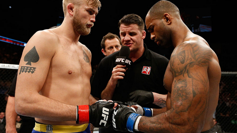 LONDON, ENGLAND - MARCH 08:  (L-R) Opponents Alexander Gustafsson and Jimi Manuwa face off before their light heavyweight fight during the UFC Fight Night London event at the O2 Arena on March 8, 2014 in London, England. (Photo by Josh Hedges/Zuffa LLC/Zu
