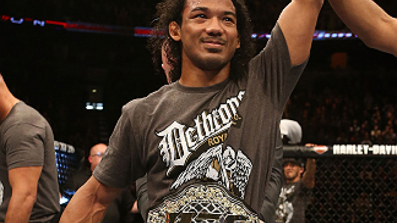 SEATTLE, WA - DECEMBER 08:  Benson Henderson reacts to his victory over Nate Diaz after their lightweight championship bout at the UFC on FOX event on December 8, 2012  at Key Arena in Seattle, Washington.  (Photo by Ezra Shaw/Zuffa LLC/Zuffa LLC via Gett