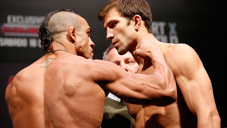JARAGUA DO SUL, BRAZIL - MAY 17: (L-R) Opponents Vitor Belfort and Luke Rockhold face off during the UFC on FX weigh-in on May 17, 2013 at the Arena Jaragua in Jaragua do Sul, Santa Catarina, Brazil. (Photo by Josh Hedges/Zuffa LLC/Zuffa LLC via Getty Ima