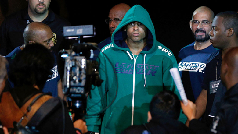 SAO PAULO, BRAZIL - MAY 31:  Warlley Alves enters the arena before his middleweight fight against Marcio Alexandre during the UFC Fight Night event at the Ginasio do Ibirapuera on May 31, 2014 in Sao Paulo, Brazil. (Photo by Josh Hedges/Zuffa LLC/Zuffa LL