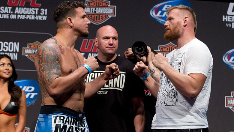 MILWAUKEE, WI - AUGUST 30:  (L-R) Frank Mir and Josh Barnett face off during the UFC 164 weigh-in inside the BMO Harris Bradley Center on August 30, 2013 in Milwaukee, Wisconsin. (Photo by Ed Mulholland/Zuffa LLC/Zuffa LLC via Getty Images) *** Local Capt