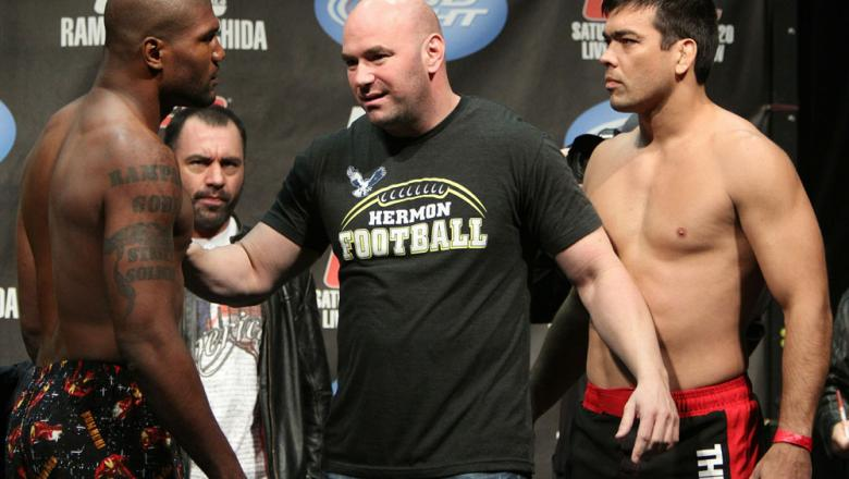 "Light Heavyweight opponents Quinton ""Rampage"" Jackson (L) and Lyoto ""The Dragon"" Machida have to be separated by UFC President Dana White at the UFC 123 weigh-in at the Palace of Auburn Hills on November 19, 2010 in Auburn Hills, Michigan.  (Photo by Josh"