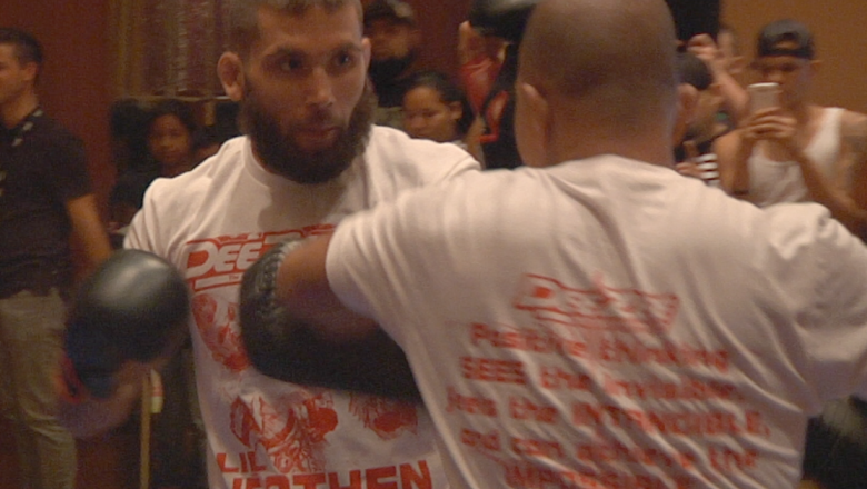 Jeremy Stephens hits pads during open workout for UFC Fight Night Swanson vs. Stephens
