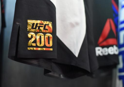 LAS VEGAS, NV - JULY 09: A close-up of a fighter's shorts during the UFC 200 event on July 9, 2016 at T-Mobile Arena in Las Vegas, Nevada. (Photo by Cooper Neill/Zuffa LLC/Zuffa LLC via Getty Images)