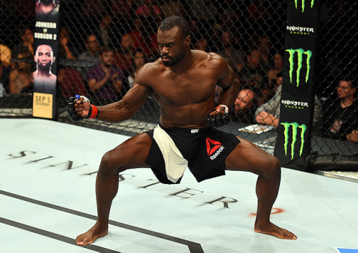 NASHVILLE, TN - AUGUST 08:  Uriah Hall of Jamaica celebrates after finishing Oluwale Bamgbose by TKO in their middleweight bout during the UFC Fight Night event at Bridgestone Arena on August 8, 2015 in Nashville, Tennessee.  (Photo by Josh Hedges/Zuffa L