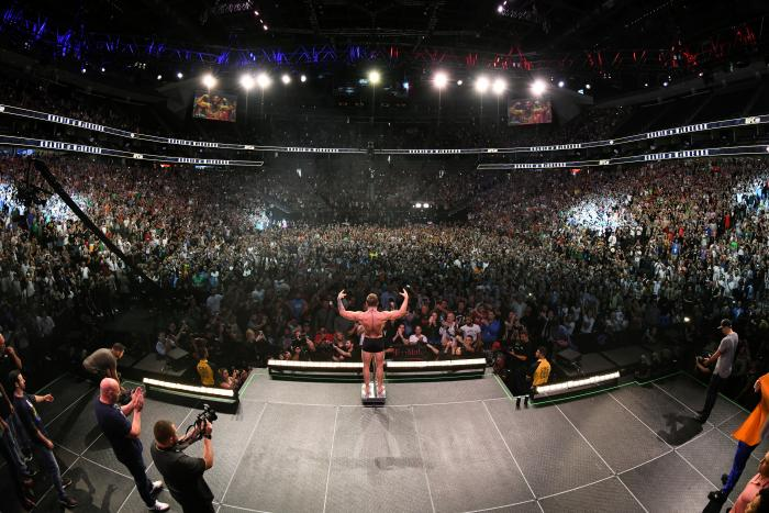 LAS VEGAS, NV - OCTOBER 05: Conor McGregor of Ireland poses on the scale during the UFC 229 weigh-in inside T-Mobile Arena on October 5, 2018 in Las Vegas, Nevada. (Photo by Josh Hedges/Zuffa LLC/Zuffa LLC via Getty Images)