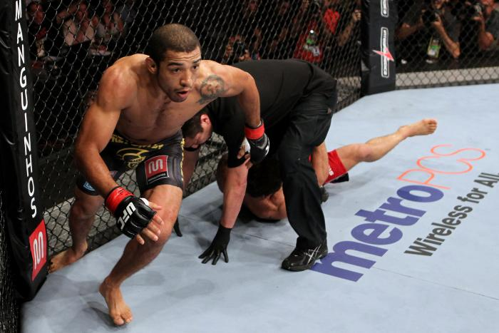 Jose Aldo celebrates knocking out Chad Mendes in a featherweight bout during UFC 142 at HSBC Arena on January 14, 2012 in Rio de Janeiro, Brazil.