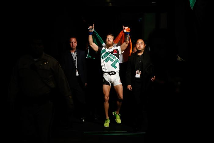 LAS VEGAS, NV - JULY 11: Conor McGregor walks to the Octagon to face Chad Mendes in their UFC interim featherweight title fight during the UFC 189 event inside MGM Grand Garden Arena on July 11, 2015 in Las Vegas, Nevada. (Photo by Christian Petersen/Zuffa LLC/Zuffa LLC via Getty Images)