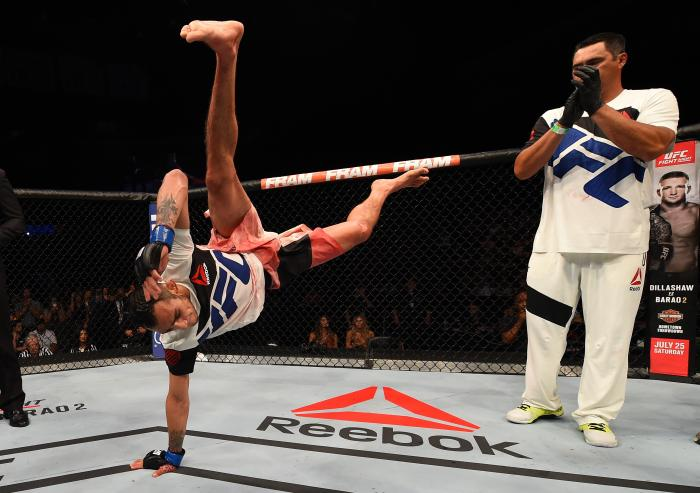 SAN DIEGO, CA - JULY 15:  Tony Ferguson celebrates his victory over Josh Thomson in their lightweight bout during the UFC event at the Valley View Casino Center on July 15, 2015 in San Diego, California. (Photo by Jeff Bottari/Zuffa LLC via Getty Images)