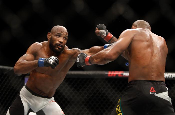 Yoel Romero in a middleweight fight during UFC 194 on December 12, 2015 in Las Vegas, Nevada.