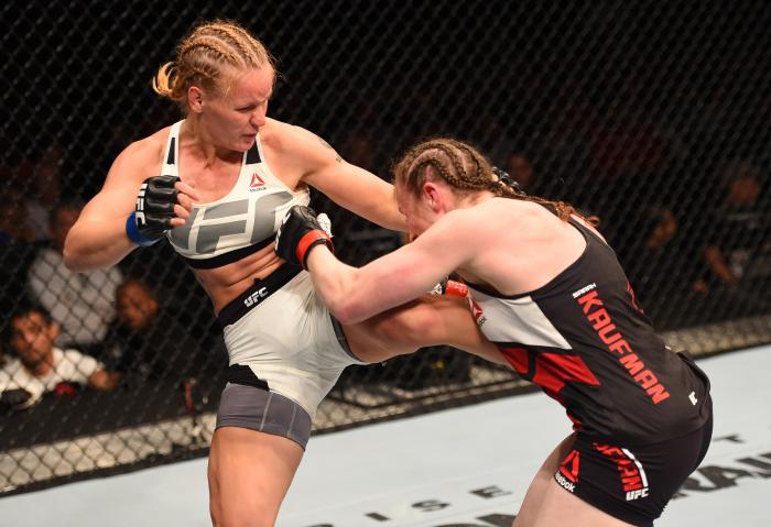 ORLANDO, FL - DECEMBER 19:   (L-R) Valentina Shevchenko kicks Sarah Kaufman in their women's bantamweight bout during the UFC Fight Night event at the Amway Center on December 19, 2015 in Orlando, Florida. (Photo by Josh Hedges/Zuffa LLC via Getty Images)