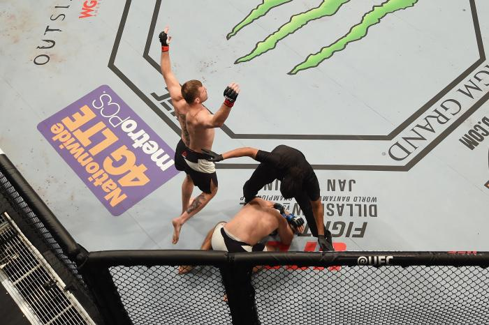 LAS VEGAS, NV - JANUARY 02: An overhead view of the Octagon as Stipe Miocic reacts to his victory over Andrei Arlovski during the UFC 195 event inside MGM Grand Garden Arena on January 2, 2016 in Las Vegas, Nevada. (Photo by Josh Hedges/Zuffa LLC/Zuffa LLC via Getty Images)