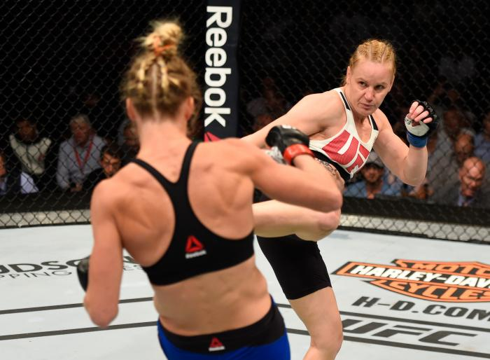 CHICAGO, IL - JULY 23:  (R-L) Valentina Shevchenko of Kyrgyzstan kicks Holly Holm in their women's bantamweight bout during the UFC Fight Night event at the United Center on July 23, 2016 in Chicago, Illinois. (Photo by Josh Hedges/Zuffa LLC via Getty Images)