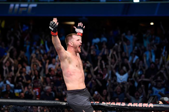 CLEVELAND, OH - SEPTEMBER 10: Stipe Miocic celebrates after defeating Alistair Overeem of The Netherlands in their UFC heavyweight championship bout during the UFC 203 event at Quicken Loans Arena on September 10, 2016 in Cleveland, Ohio. (Photo by Josh Hedges/Zuffa LLC/Zuffa LLC via Getty Images)