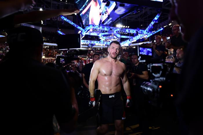 CLEVELAND, OH - SEPTEMBER 10: UFC heavyweight champion Stipe Miocic walks backstage after defeating Alistair Overeem of The Netherlands during the UFC 203 event at Quicken Loans Arena on September 10, 2016 in Cleveland, Ohio. (Photo by Mike Roach/Zuffa LLC/Zuffa LLC via Getty Images)