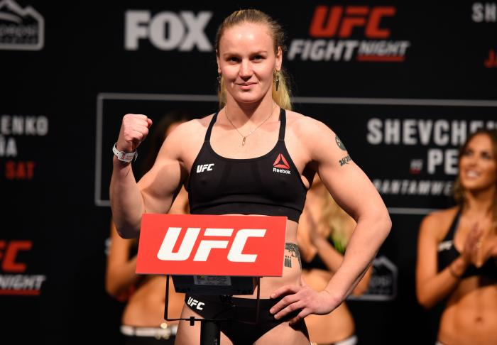 DENVER, COLORADO - JANUARY 27:  Valentina Shevchenko of Kyrgyzstan poses on the scale during the UFC Fight Night weigh-in at the Pepsi Center on January 27, 2017 in Denver, Colorado. (Photo by Josh Hedges/Zuffa LLC via Getty Images)