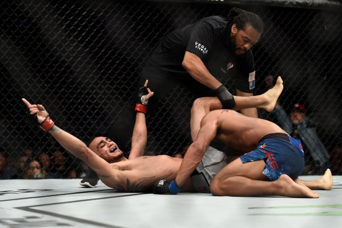 LAS VEGAS, NV - OCTOBER 07:   Tony Ferguson celebrates after his submission victory over Kevin Lee in their interim UFC lightweight championship bout during the UFC 216 event inside T-Mobile Arena on October 7, 2017 in Las Vegas, Nevada. (Photo by Brandon Magnus/Zuffa LLC via Getty Images)