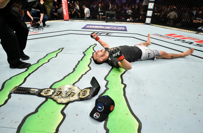 LAS VEGAS, NV - OCTOBER 07:  Tony Ferguson celebrates after his submission victory over Kevin Lee in their interim UFC lightweight championship bout during the UFC 216 event inside T-Mobile Arena on October 7, 2017 in Las Vegas, Nevada. (Photo by Jeff Bottari/Zuffa LLC via Getty Images)