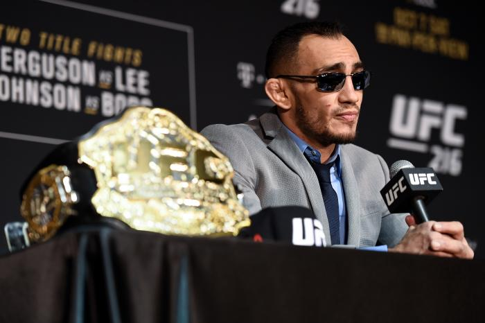 LAS VEGAS, NV - OCTOBER 07:  Tony Ferguson speaks to the media after the UFC 216 event inside TMobile Arena on October 7, 2017 in Las Vegas, Nevada. (Photo by Brandon Magnus/Zuffa LLC via Getty Images)