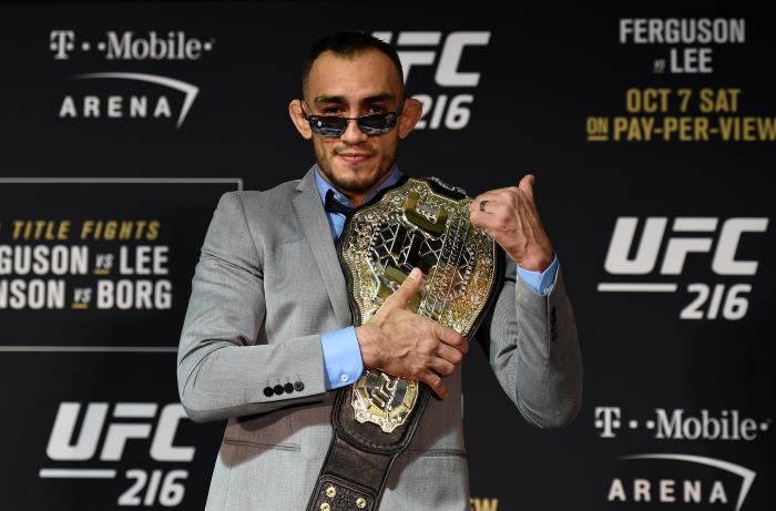 LAS VEGAS, NV - OCTOBER 07:  Tony Ferguson poses for a picture after the UFC 216 event inside TMobile Arena on October 7, 2017 in Las Vegas, Nevada. (Photo by Brandon Magnus/Zuffa LLC/Zuffa LLC via Getty Images)