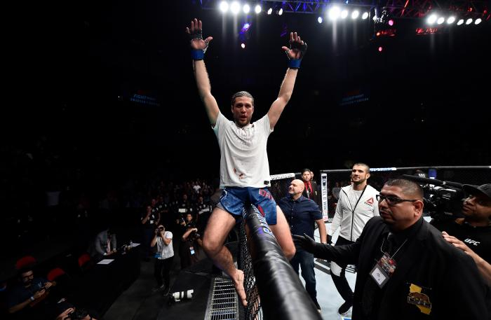 FRESNO, CA - DECEMBER 09:  Brian Ortega celebrates his submission victory over Cub Swanson in their featherweight bout during the UFC Fight Night event inside Save Mart Center on December 9, 2017 in Fresno, California. (Photo by Jeff Bottari/Zuffa LLC via Getty Images)