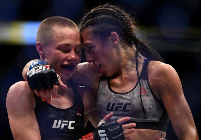 BROOKLYN, NEW YORK - APRIL 07:  (L-R) Opponents Rose Namajunas and Joanna Jedrzejczyk of Poland embraces after the conclusion of their women's strawweight title bout during the UFC 223 event inside Barclays Center on April 7, 2018 in Brooklyn, New York. (Photo by Brandon Magnus/Zuffa LLC via Getty Images)