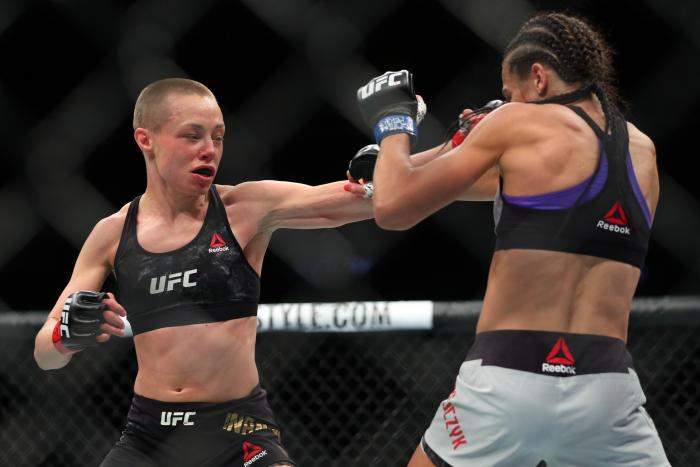 NEW YORK, NY - APRIL 07: UFC strawweight champion Rose Namajunas (L) throws a left hand at Joanna Jedrzejczyk (R) during their UFC women's strawweight championship bout at UFC 223 at Barclays Center on April 7, 2018 in New York City. (Photo by Ed Mulholland/Getty Images)