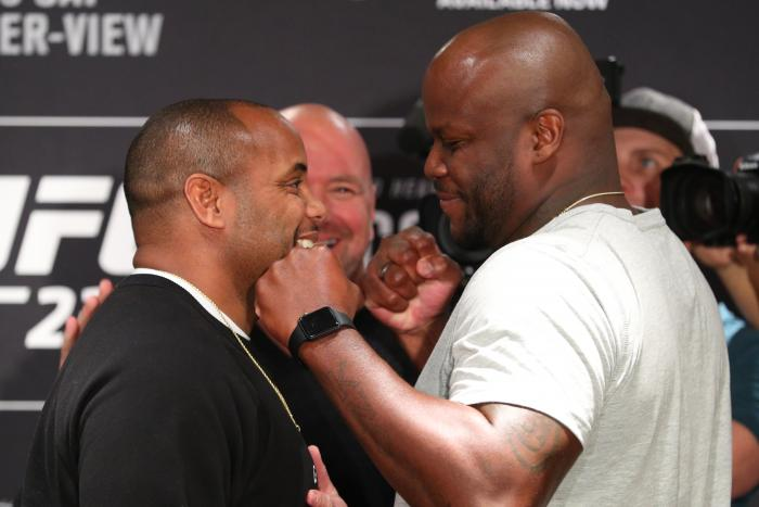 NEW YORK, NY - NOVEMBER 1: (L-R) UFC light heavyweight and heavyweight champion Daniel Cormier and Derrick Lewis pose for media during the UFC 230 ultimate media day at the New York Marriott Marquis on November 1, 2018 in New York, NY.  (Photo by Ed Mulholland/Zuffa LLC via Getty Images)